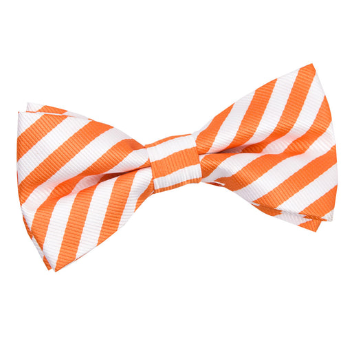 Thin Stripe Pre-Tied Bow Tie - White & Orange