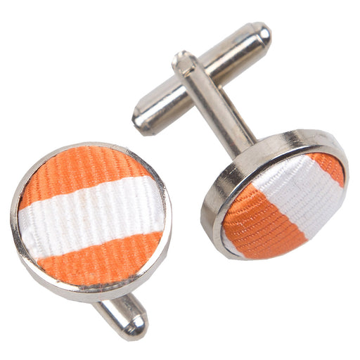 Thin Stripe Cufflinks - White & Orange