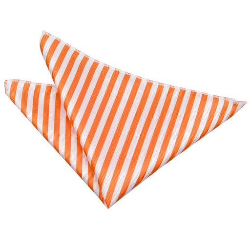 Thin Stripe Handkerchief - White & Orange