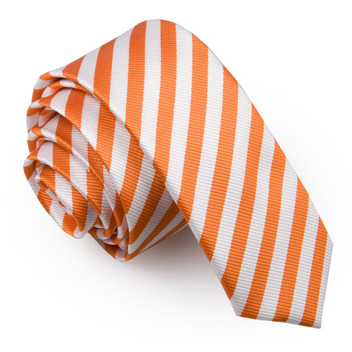 Thin Stripe Skinny Tie - White & Orange