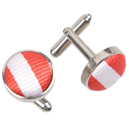 Thin Stripe Cufflinks - White & Red