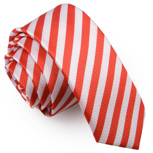 Thin Stripe Skinny Tie - White & Red