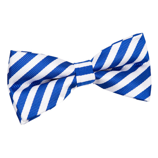 Thin Stripe Pre-Tied Bow Tie - White & Royal Blue
