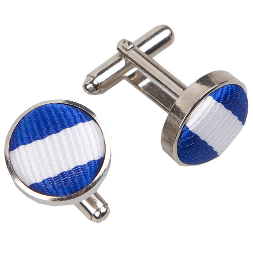Thin Stripe Cufflinks - White & Royal Blue