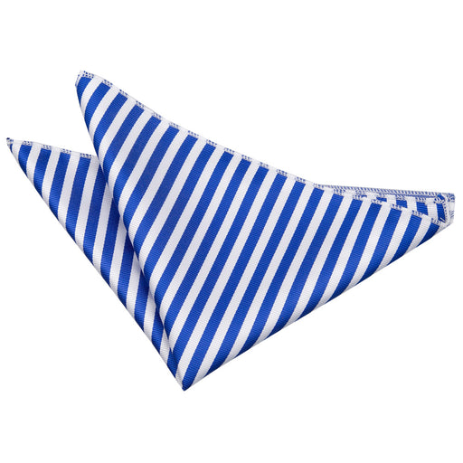 Thin Stripe Handkerchief - White & Royal Blue