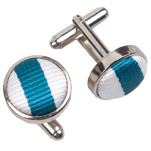 Thin Stripe Cufflinks - White & Teal