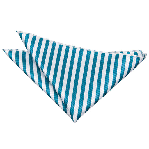 Thin Stripe Handkerchief - White & Teal