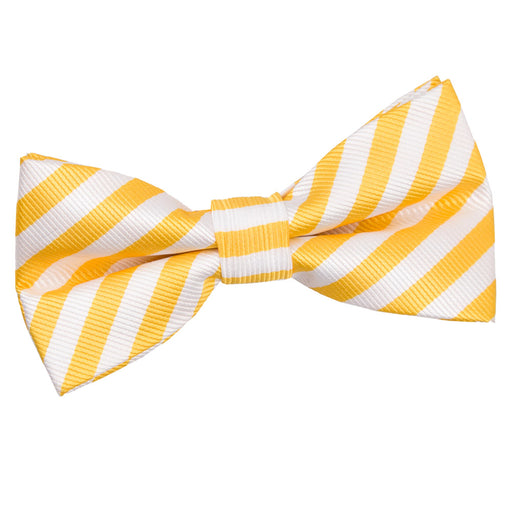 Thin Stripe Pre-Tied Bow Tie - White & Yellow