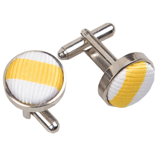 Thin Stripe Cufflinks - White & Yellow