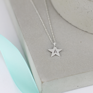 Tiny Silver Star Initial Necklace