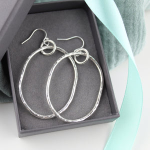 Long Dangly Oval Earrings