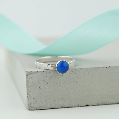 Silver Blue Onyx Gemstone Ring