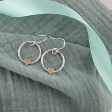 Load image into Gallery viewer, Copper Heart Drop Earrings