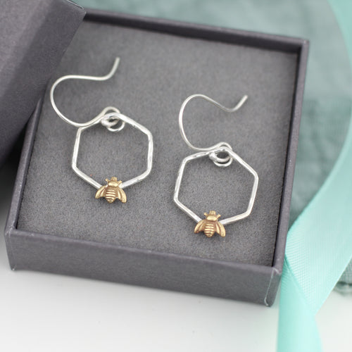 Hexagonal Silver Bee Earrings