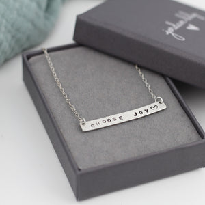 Custom Bar Necklace Silver