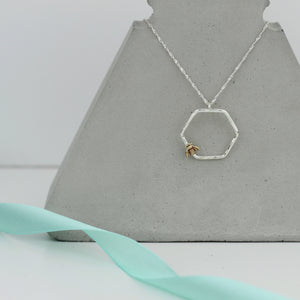 Bee Hexagon Necklace