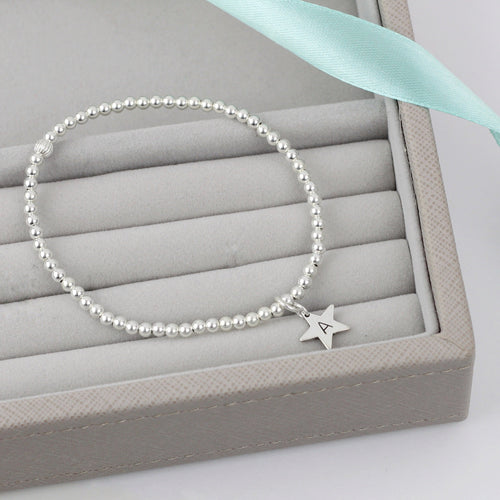 Star with Initial Silver Bead Bracelet