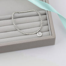 Load image into Gallery viewer, Initial Silver Bead Bracelet