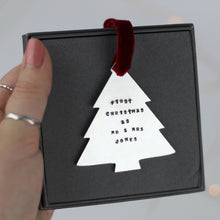 "Load image into Gallery viewer, ""First Christmas as Mr & Mrs"" Tree Decoration"