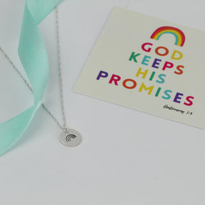 Silver Stamped Rainbow Necklace