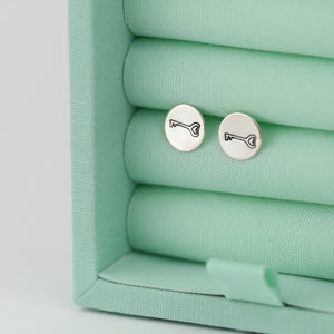 Key Stamped Stud Earrings