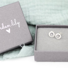 Load image into Gallery viewer, Heart Burst Silver Stamped Studs