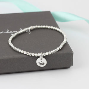 Crown Silver Bead Bracelet