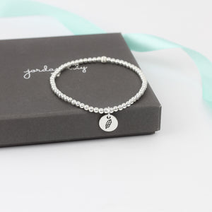 Feather Silver Bead Bracelet