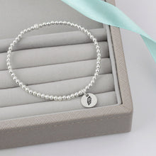 Load image into Gallery viewer, Feather Silver Bead Bracelet