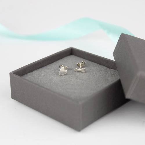 Heart and Arrow Stud Earrings
