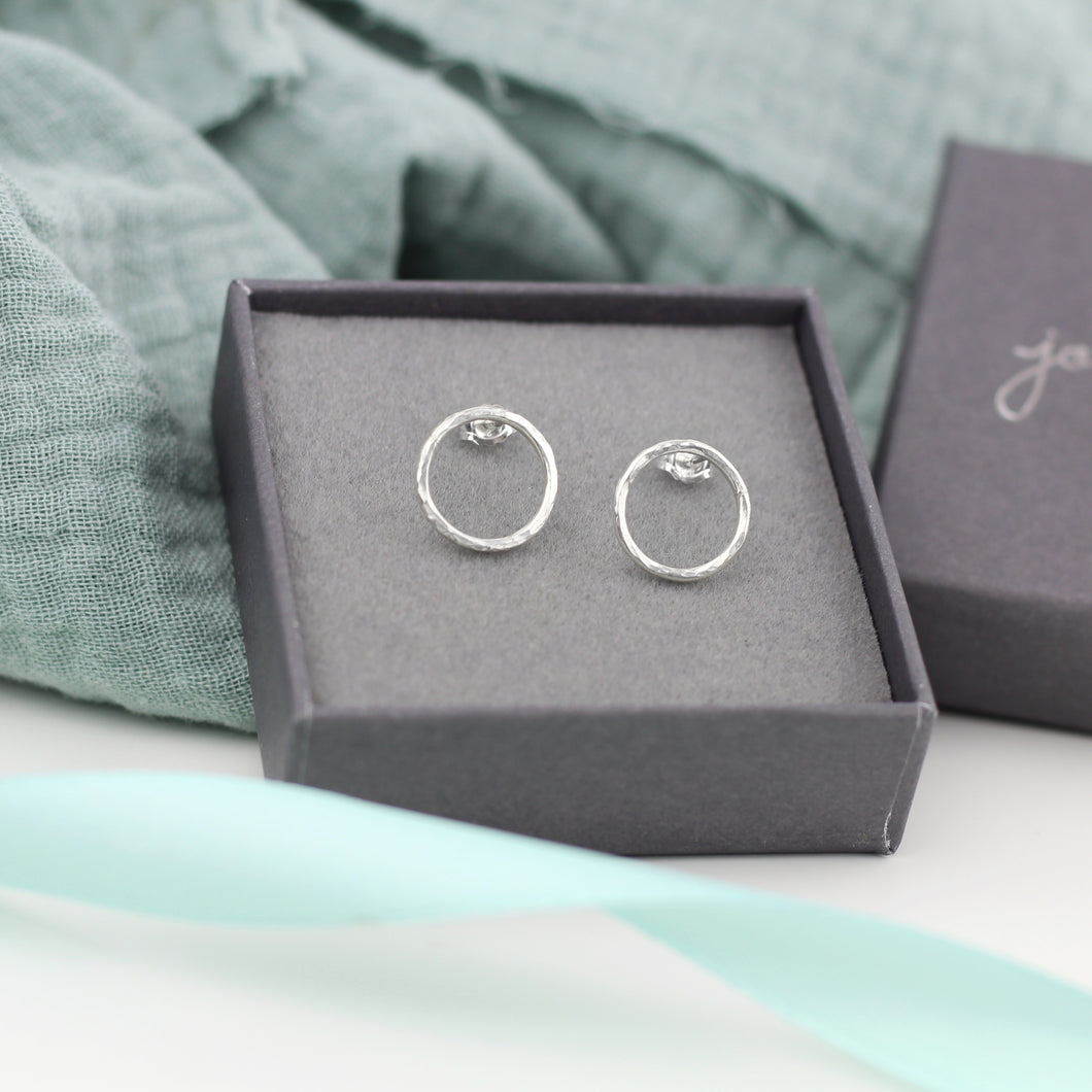 Small Open Circle Stud Earrings