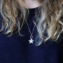 Load image into Gallery viewer, Two Star Long Silver Necklace