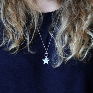 Two Star Long Silver Necklace