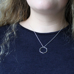 Open Hexagon Silver Necklace - Small/Large