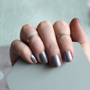 Set of Three Silver Midi Rings