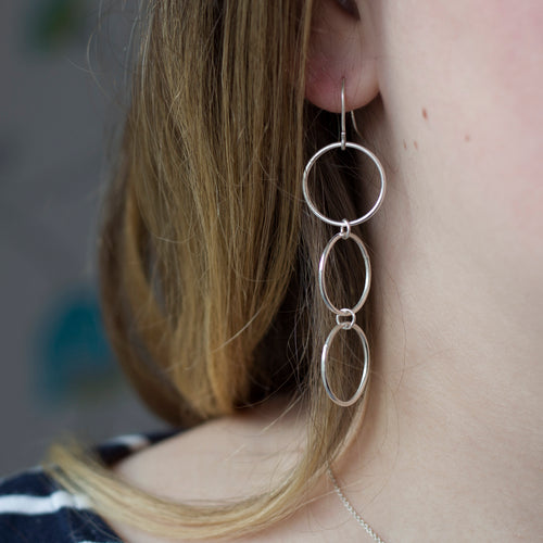 Three Linked Circle Drop Earrings