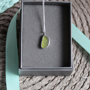 Lime Green Cornish Sea Glass Necklace