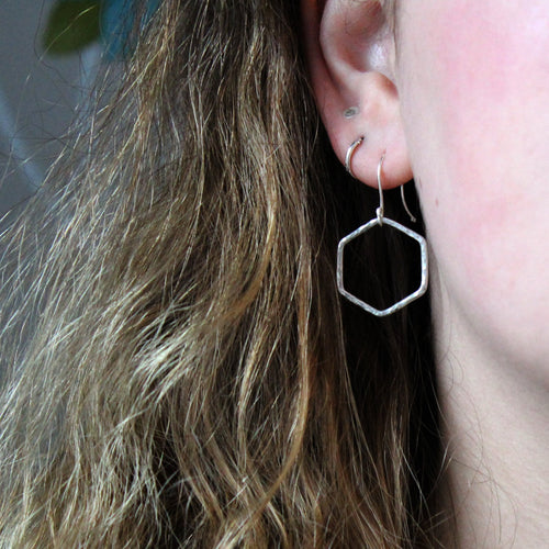 Hexagon Silver Drop Earrings