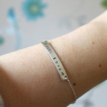 Load image into Gallery viewer, Custom Bar Bracelet with Stamped Message