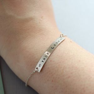 Custom Bar Bracelet with Stamped Message