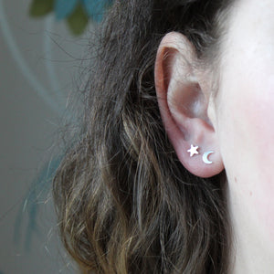 Mismatched Star and Moon Studs