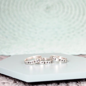 Custom Stamped Word Ring