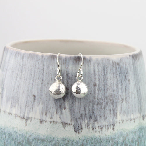 Recycled Silver Pebble Drop Earrings