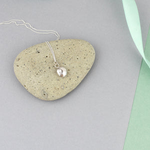Long Recycled Silver Pebble Necklace