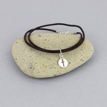 Load image into Gallery viewer, Cross Bracelet with Leather