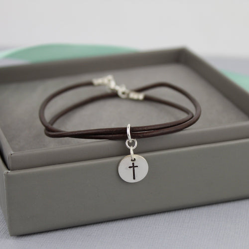 Cross Bracelet with Leather