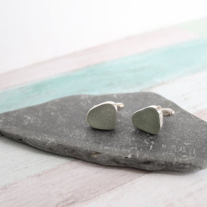 Custom Seaglass and Silver Cufflinks