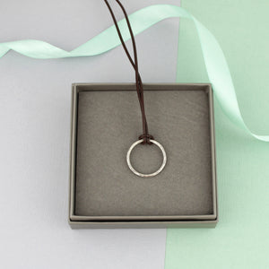 Silver and Leather Circle Necklace