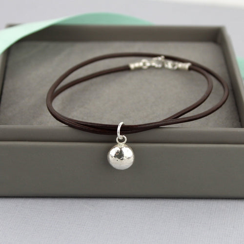 Recycled Silver Pebble Leather Bracelet