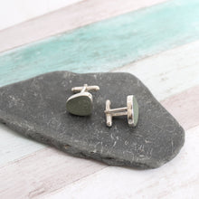 Load image into Gallery viewer, Custom Seaglass and Silver Cufflinks